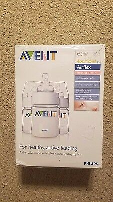 New Sealed AVENT Naturally Bottles 4 Ounce -125 ml (Pack of 3) FREE SHIPPING!