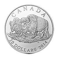 1 oz 2014 Bison: The Bull and his Mate Silver Proof Coin