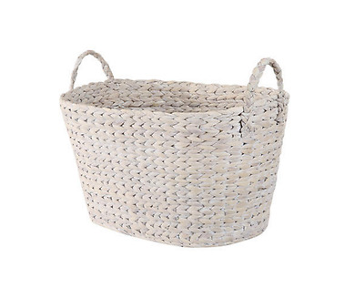 Rustic Laundry Basket Hamper Clothes Woven Storage Organizer Washing White Wash