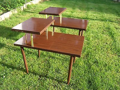 Pair of Mid Century Danish Modern Wood & Gold 2 Tier Step End Tables
