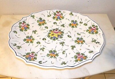 "Castelli Hand Painted Italian Italy Oval Serving Platter 16 1/2"" Floral"