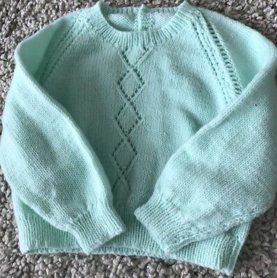 Mint Aqua Hand Knitted Baby Jumper Size 0