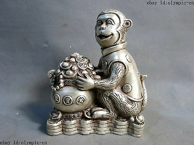 China silver carved fine luck treasure bowl money sculpture monkey statue