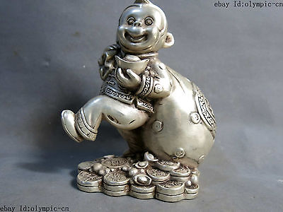 "7"" China Silver carved beautiful big money bag luck money sculpture Statue"