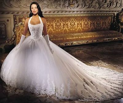 2017 US Wedding Dress White Lace Bridal Dress Gown Stock Size 6/8/10/12/14/16