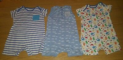 x3 Tesco Boys 9-12 months Summer Rompers **VGC**