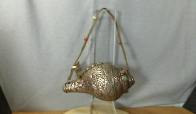 Antique Tibetan conch shell trumpet in silver with turquoises and corals