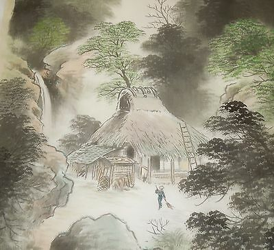 Antique Japanese Silk Hand Painted Hanging Scroll Village Scene Mountain River