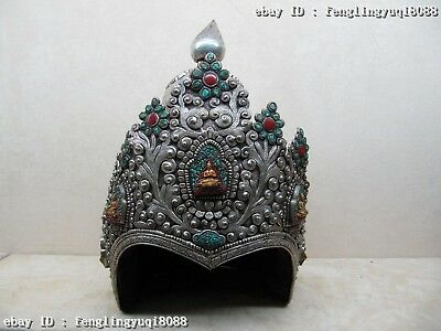 Mongolia Silver inlay turquoise Red coral Gem General Knight Samurai Hat Cap