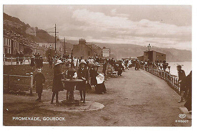 GOUROCK Promenade, Animated Scene, RP Postcard by EAS Postally Used 1916