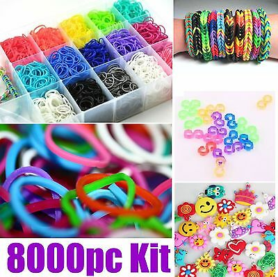 8000pc COLOURFUL RAINBOW RUBBER LOOM BANDS BRACELET MAKING KIT SET S-CLIPS LOOMS