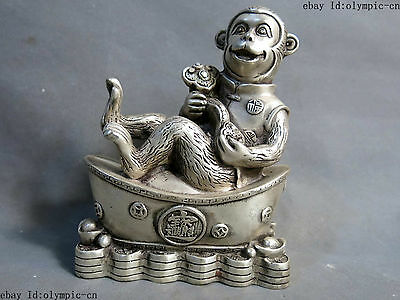 China silver carved fine luck Yuan Bao as one wishes monkey sculpture Statue