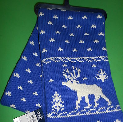 "Ralph Lauren Boys Reindeer Scarf Nordic Cable Knit Reversible 54""x 8"" Blue White"
