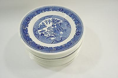 "10 Buffalo China Blue Willow 9.75"" Dinner Plates Restaurant Ware USA Made"