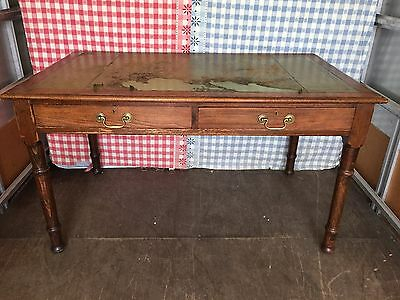 Antique Victorian Solid Oak & Pine Writing Library Table Desk w/ Leather Top