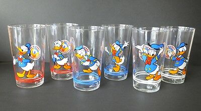 Disney 6 alte Gläser France VMC Reims 80 iger Donald Duck  Trinkgläser Set
