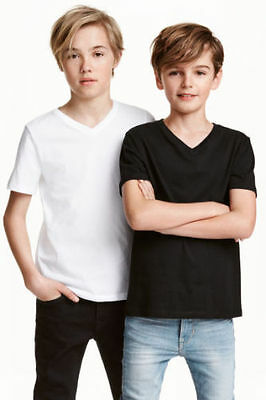 Boy's Kids Ex H&M V Neck Tshirts in organic 100% cotton Plain Solid Color jersey