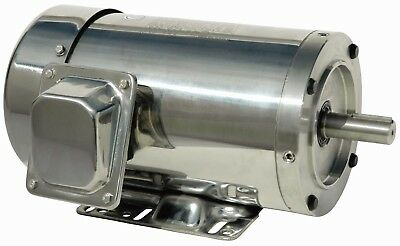 1 hp stainless steel electric motor 143tc 3 phase 1800 rpm with base washdown