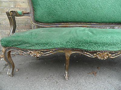 Antique French LOUIS Shabby Chic Carved Gilt Gold 3 Seater Sofa Settee Couch