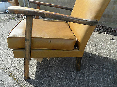 Vintage Retro Leather Shabby Chic Fireside Office 1950 60's Easy Armchair Chair