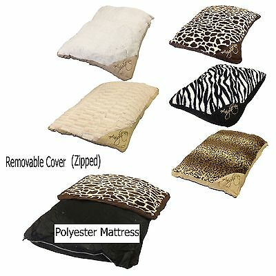 Big & Small Dogs Rabbits Pets Beds Mattress Removable Zipped Fur Cover 7 Colours