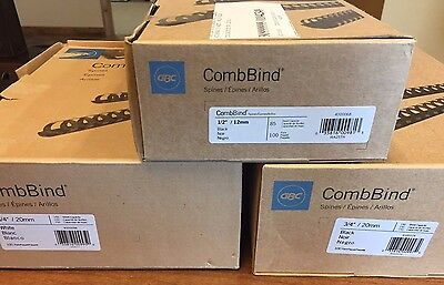 """Lot of CombBind Standard Spines, 3/4'' Diameter Black, 3/4"""" White and 1/2"""" Black"""
