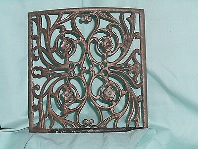 Antique Curved Heat Vent Cast Iron Cover Floral Design French Look