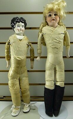 """1920s Jointed Leather Bisque Porcelain Head & Arms Dolls  16"""" & 18"""" Tall"""