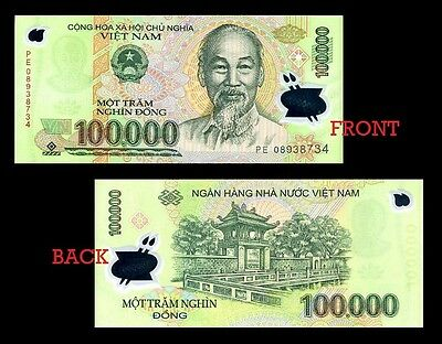Vietnam 100,000 Dong Currency VND Polymer Banknote - New UNC Excellent condition
