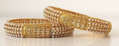 Bollywood Style/ Indian Jewellery/ Party wear/ 2 Gold, Pearl Bangles