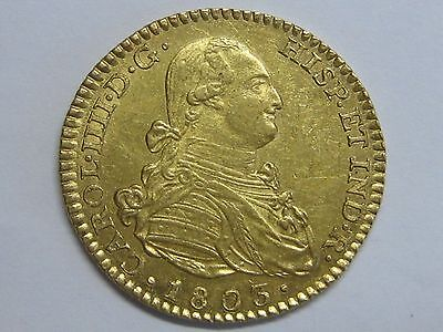 1803 Madrid 2 Escudos Charles Iv Spanish Colonial Spain Gold Coin