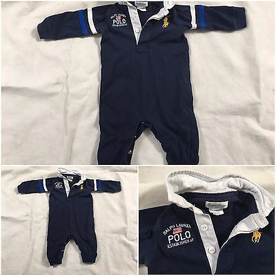 Polo Ralph Lauren Boys Short Sleeved Romper 6 Months Baby Navy Blue Baby Grow