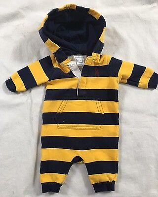 Polo Ralph Lauren Boys Short Sleeved Romper 3 Months Baby Navy Blue Baby Grow