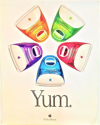 Vintage 1999 Apple Yum Imac Poster Near Exclnt Rolled Condition, Last One Avail
