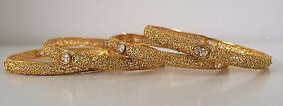 Bollywood Indian Jewellery/ Party wear/ 4 bangles/ Gold, Clear Stones