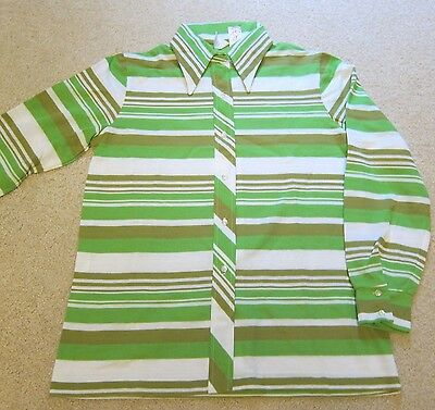 Vintage Green Stripe Polyester Shirt Women's Large Button Down Top Wing Collar