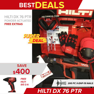 Hilti Dx 76 Ptr Powder Actuated Tool, New, Free Gloves, Extras, Fast Ship