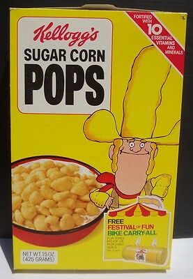 1980 Corn Pops Cereal Box Big Yella Cowboy bike carry all offer Kelloggs