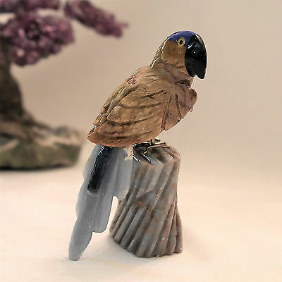 Carved Jasper Stone Macaw Parrot, Peru, Handcrafted 3.25 Inches High