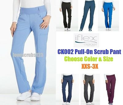 Cherokee iflex Straight Leg Pull On Scrub Pant CK002 Choose Size & Color!