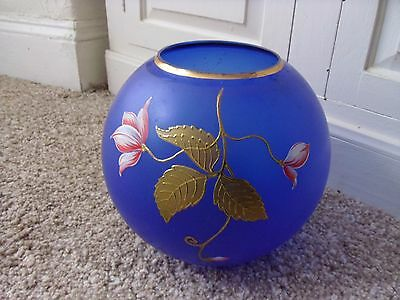 Large Blue Round Vintage Glass  Vase.