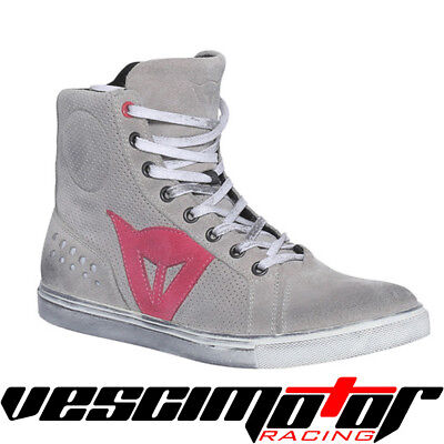 Scarpa Dainese Street Biker Air Lady Shoes Light-Gray/Coral