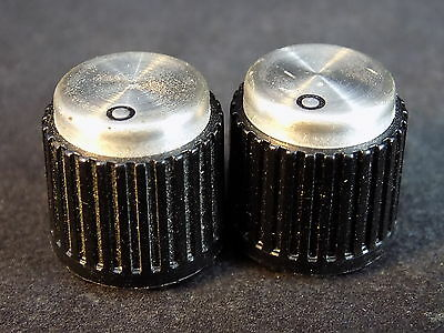 "2 REPLACEMENT KNOBS black plastic w/  aluminum top 1/4"" post  double set screws"