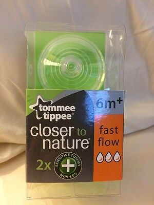 2 Tommee Tippee closer to nature Sensitive Tummy Nipples Fast Flow 6m+
