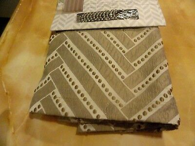 new Fabric  SHOWER CURTAIN~Creams~Tan~Embroidered dots~Diagonal Stripes+ HOOKS