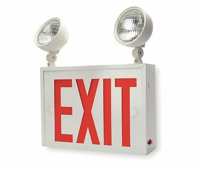 Lithonia LHXNY W 1 R M2 LED Exit Sign with Emergency Lights, Red, Steel (2-Pack)