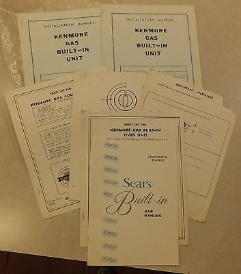 Vtg Sears Kenmore Gas Range Oven Owner's Guide Parts List Installation Manual