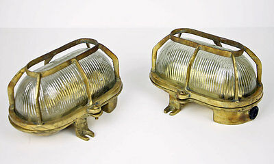 2 Vintage Brass Bulkhead Light Wall Mount Marine Nautical Fixture British Convoy