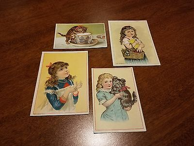 1869 SET of 4 Victorian Trade Card BLANKS Children Cat Beautiful Colors