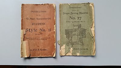 Antique Singer Sewing Machine #27 Manual & Attachments Style 11 Instructions